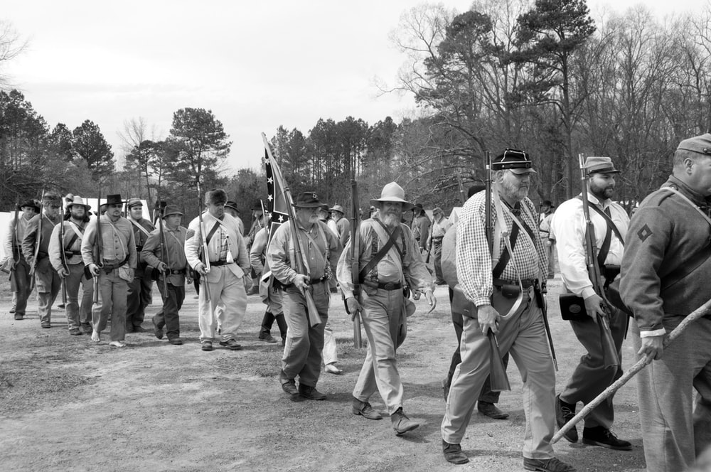 grayscale photo of soldiers