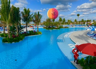 large swimming pool under white sky