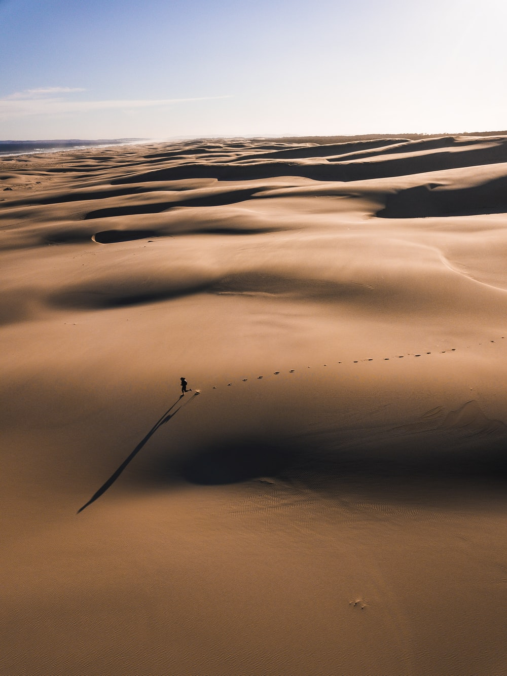 person walking on the desert photography