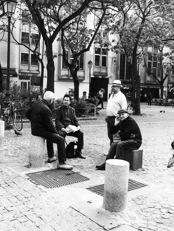 Life in Paris. Men gathering near Chatelet