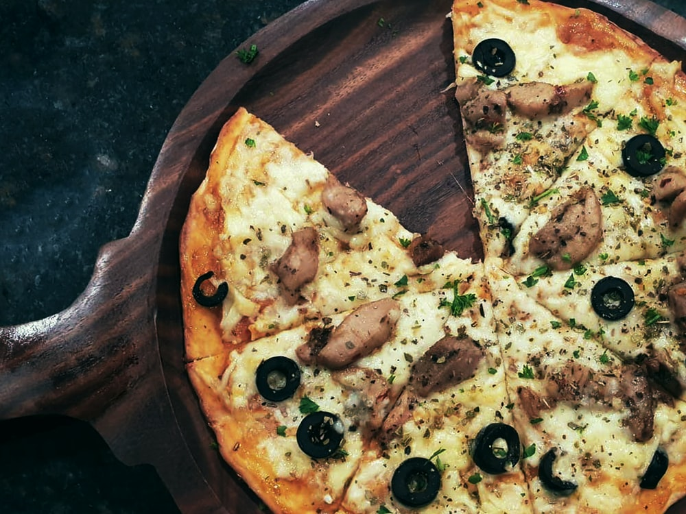 food photography of pepperoni and cheese pizza