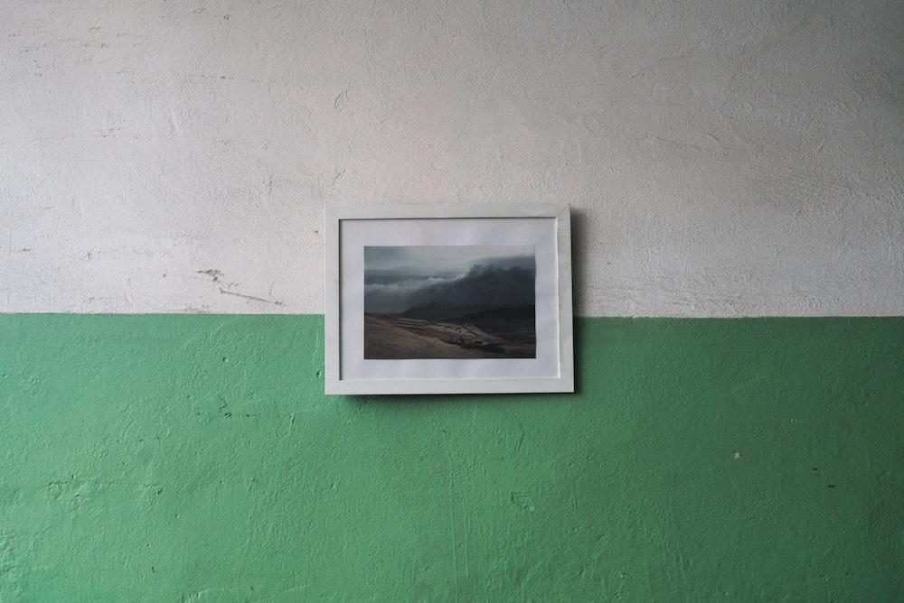 white wooden framed landscape photo wall decor