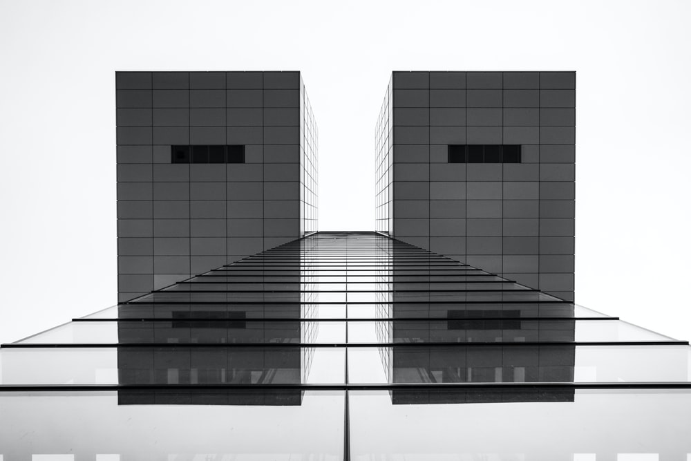 gray scale photo of building