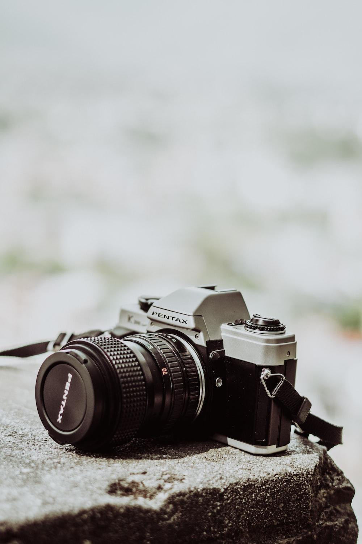 black and grey Pentax classic film SLR camera