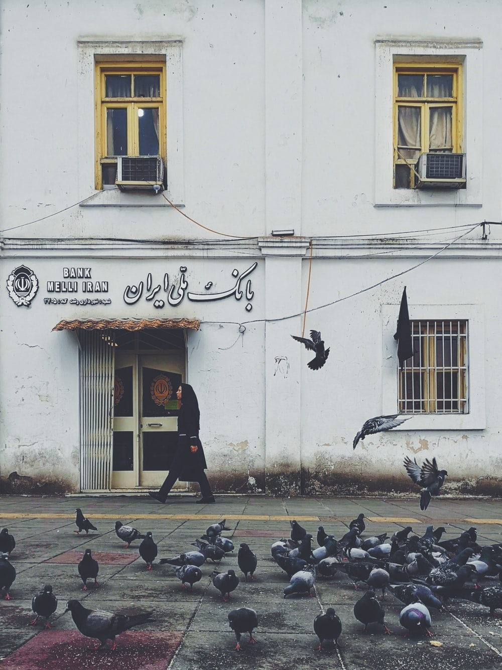 person walking beside white building passes by pigeons during daytime