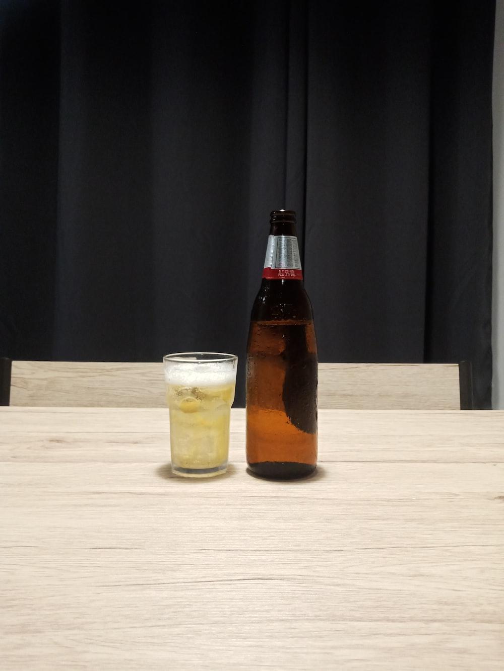 brown glass bottle
