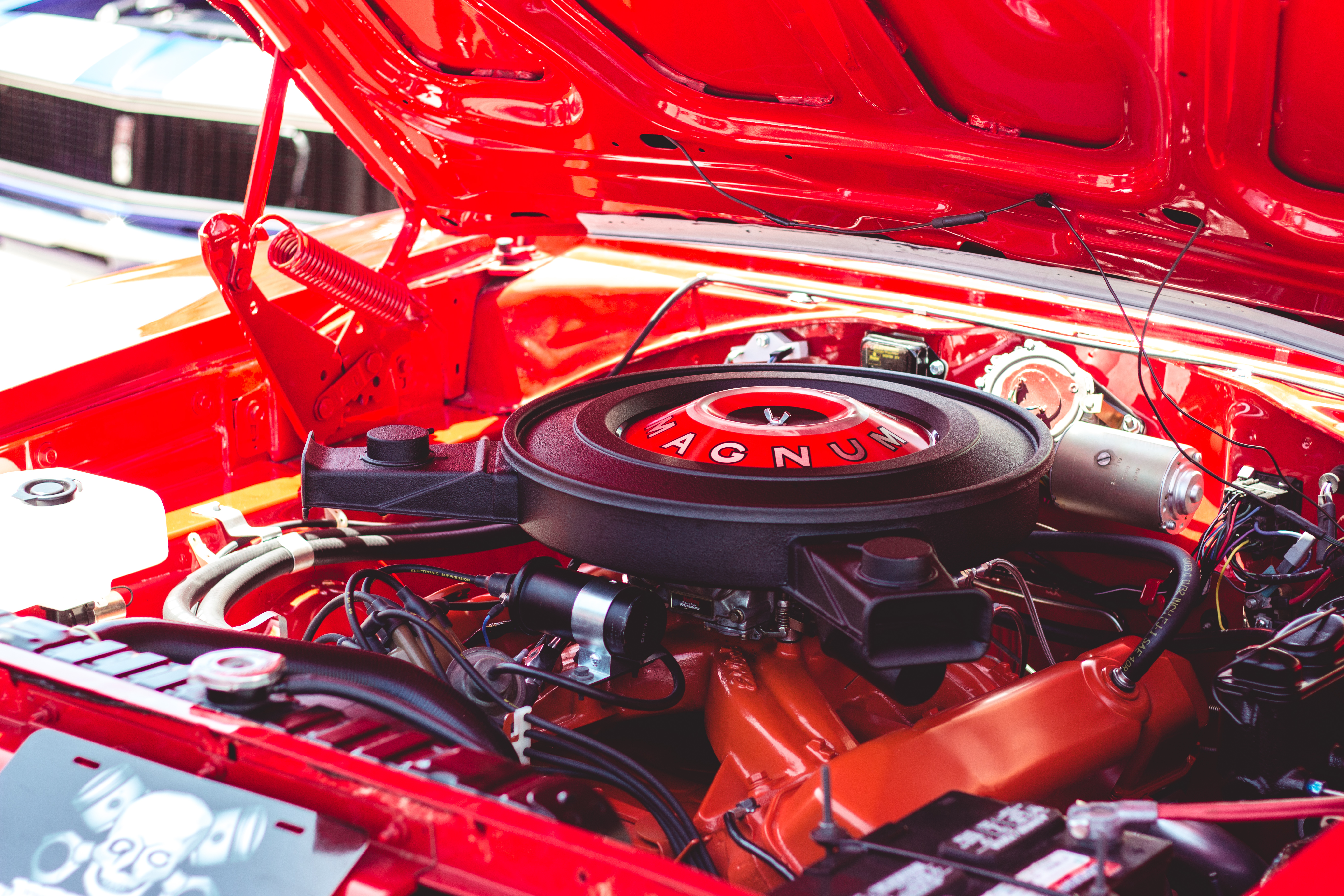 black and red vehicle engine bay