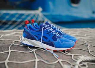 blue Asics shoes
