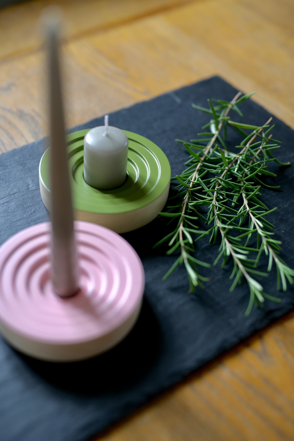 pink and green candle holder