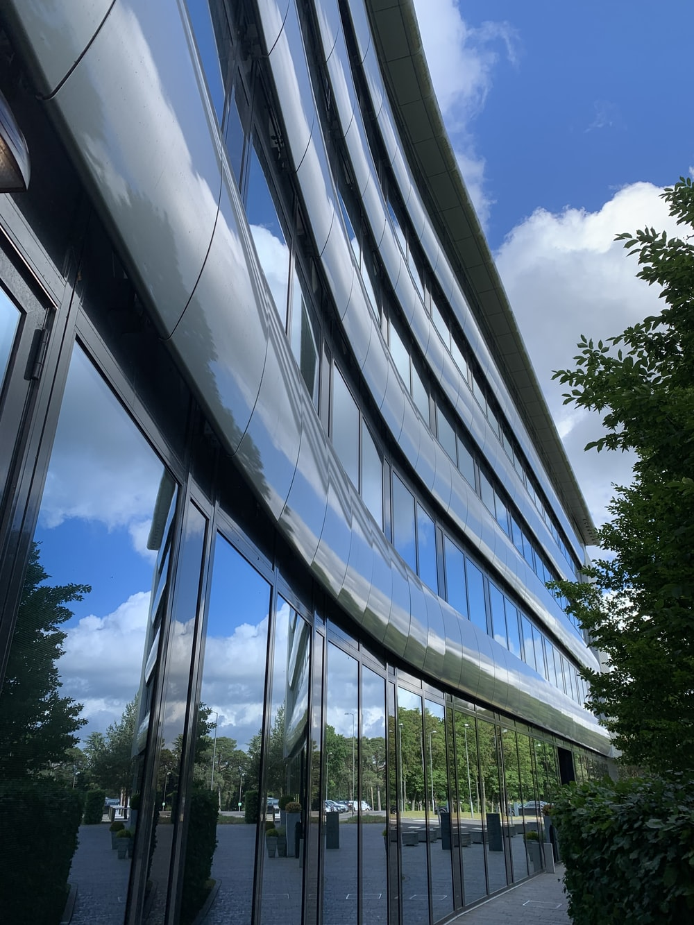 architectural photography of glass curtain building