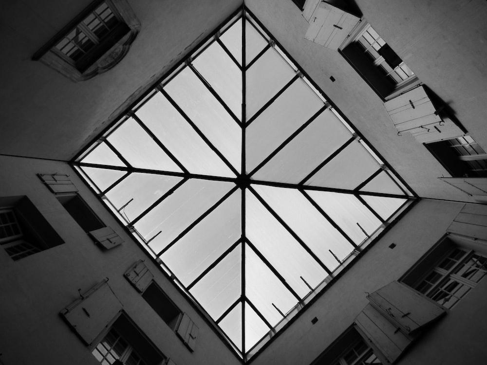 white concrete building viewing ceiling