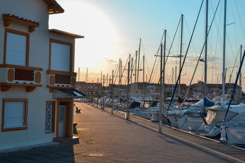 boats on boatyard during golden hour