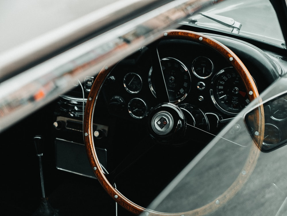 Classic Car With Black And Brown Interior Photo Free Car