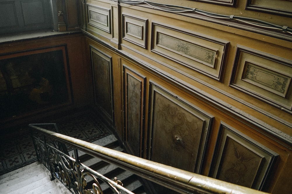 view of brown wooden stairs