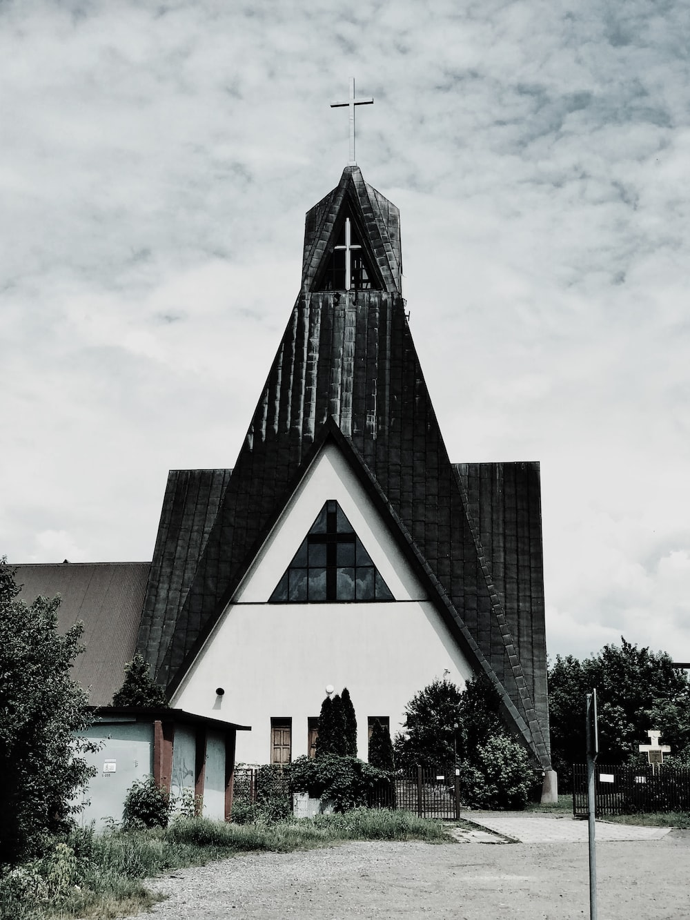 grayscale photography of church