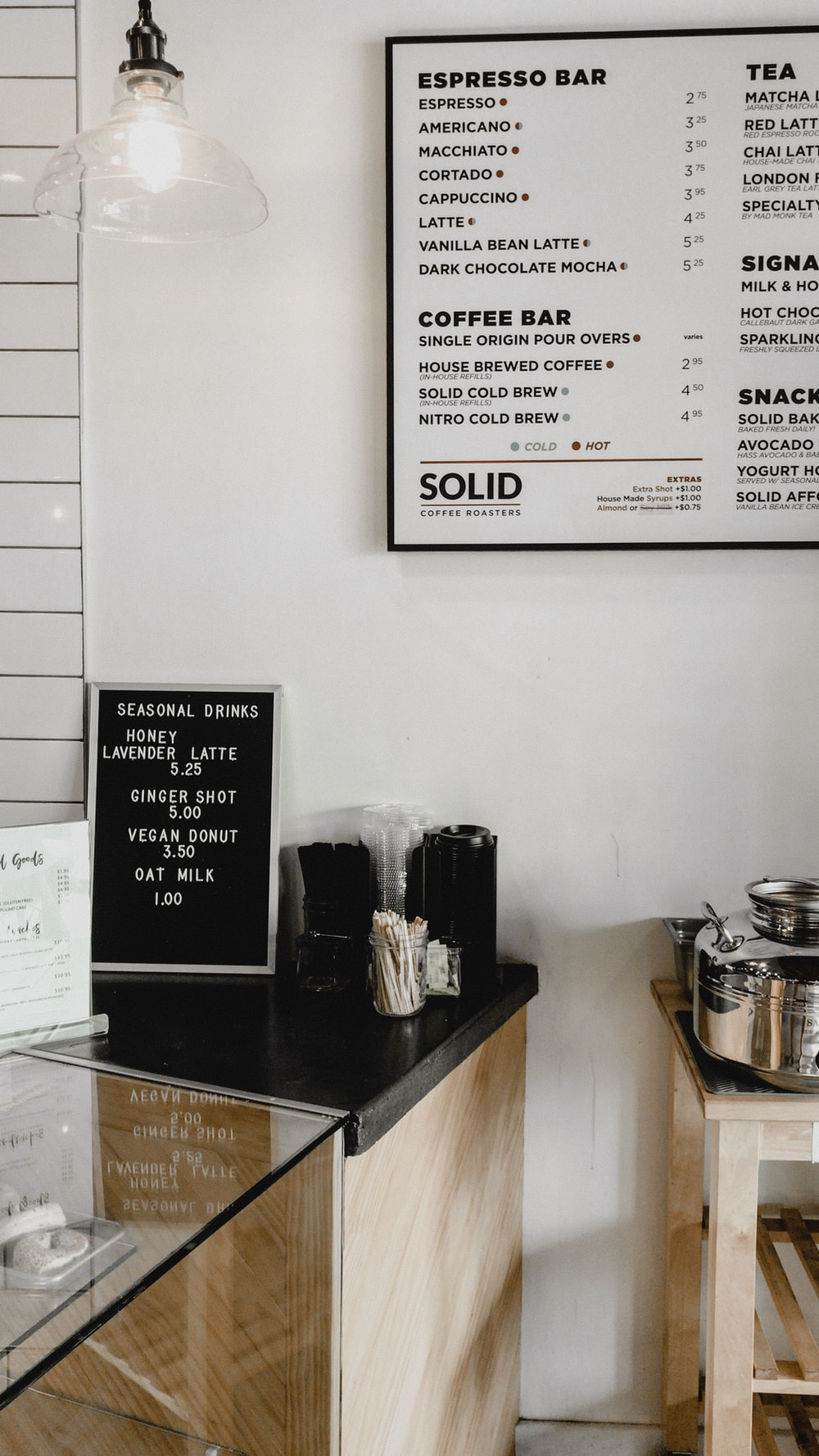 Cafe menu on table and wall