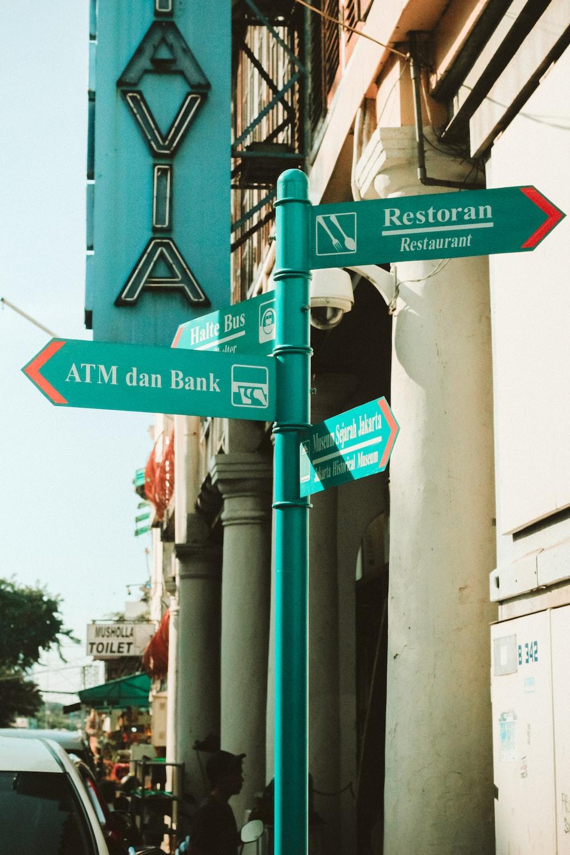ATM Dan Bank and Restoran road signs
