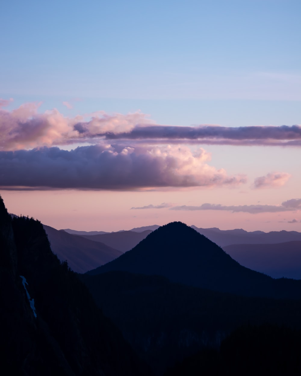 silhouette photography of mountain range