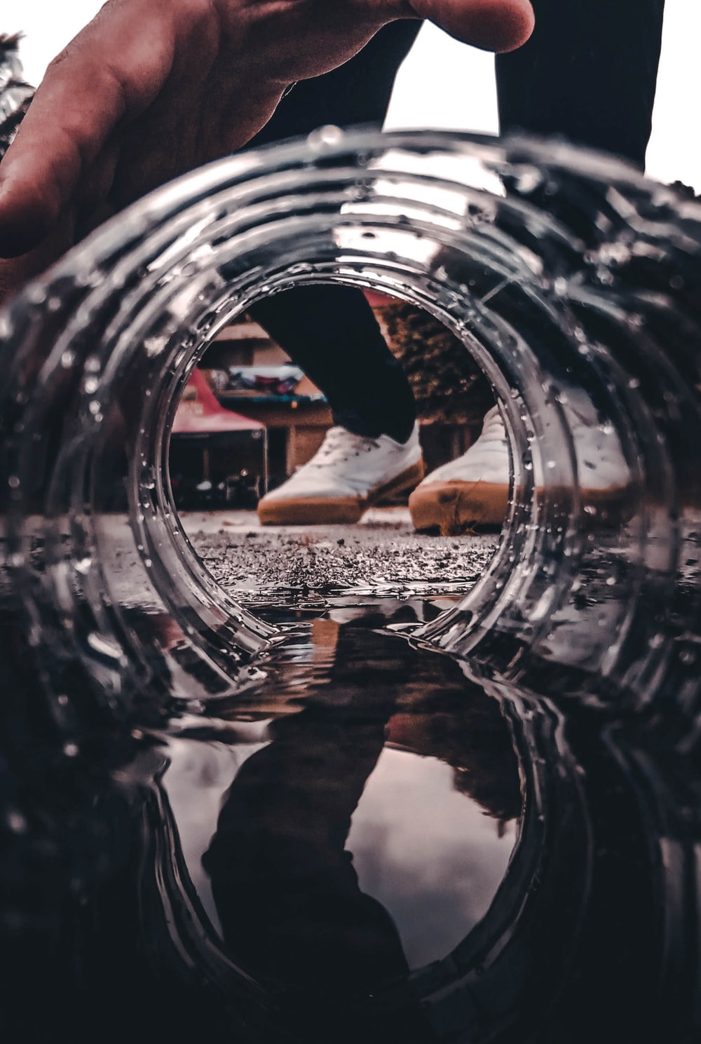 selective focus photography of round clear container