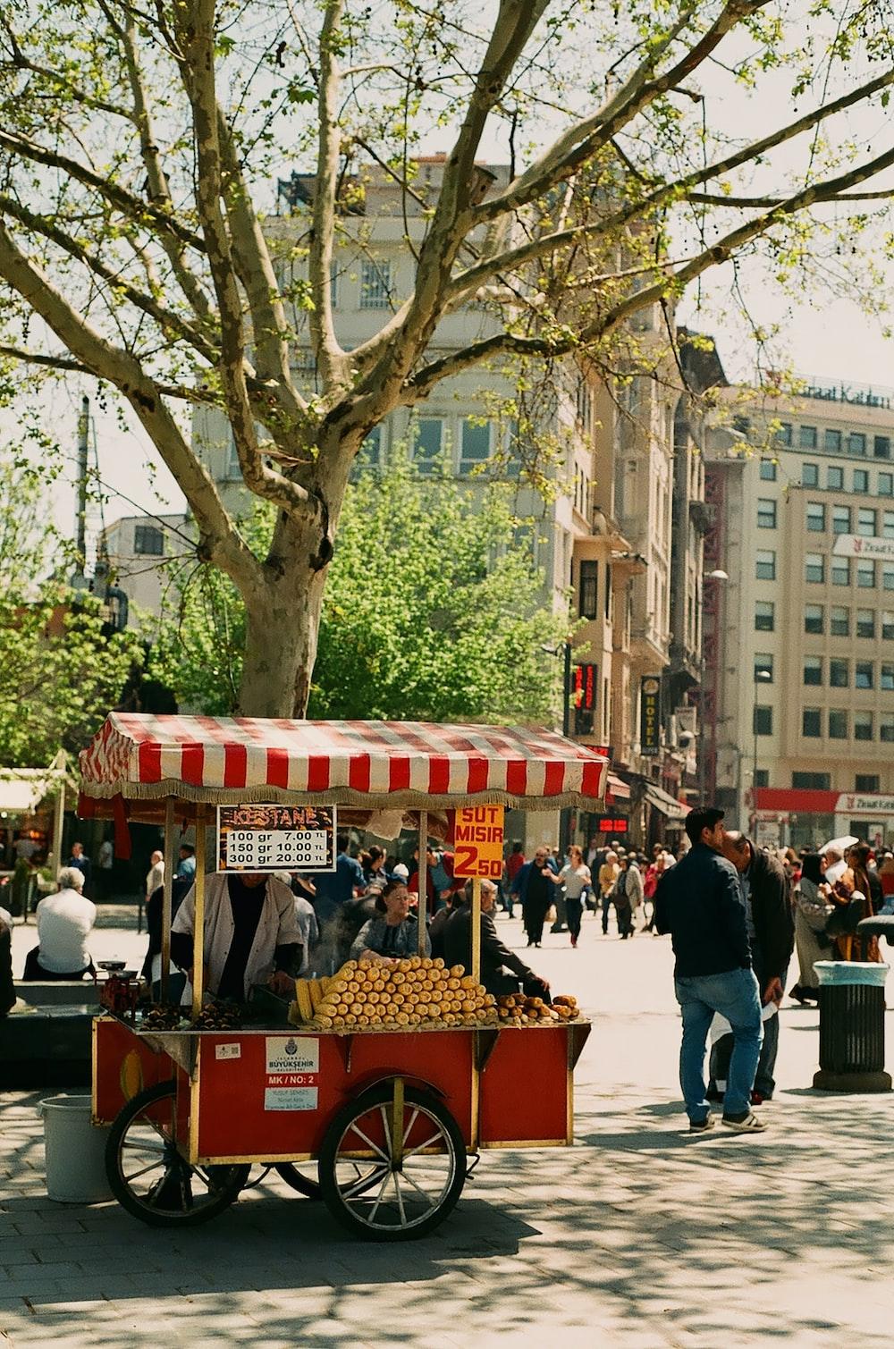 red kiosk beside tree