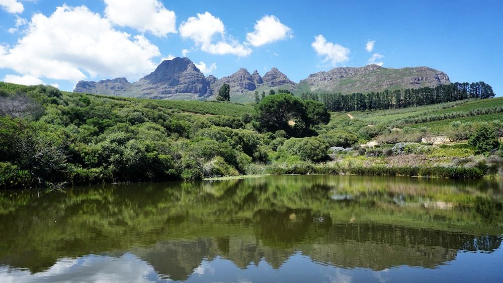 lake and green mountain under white skies