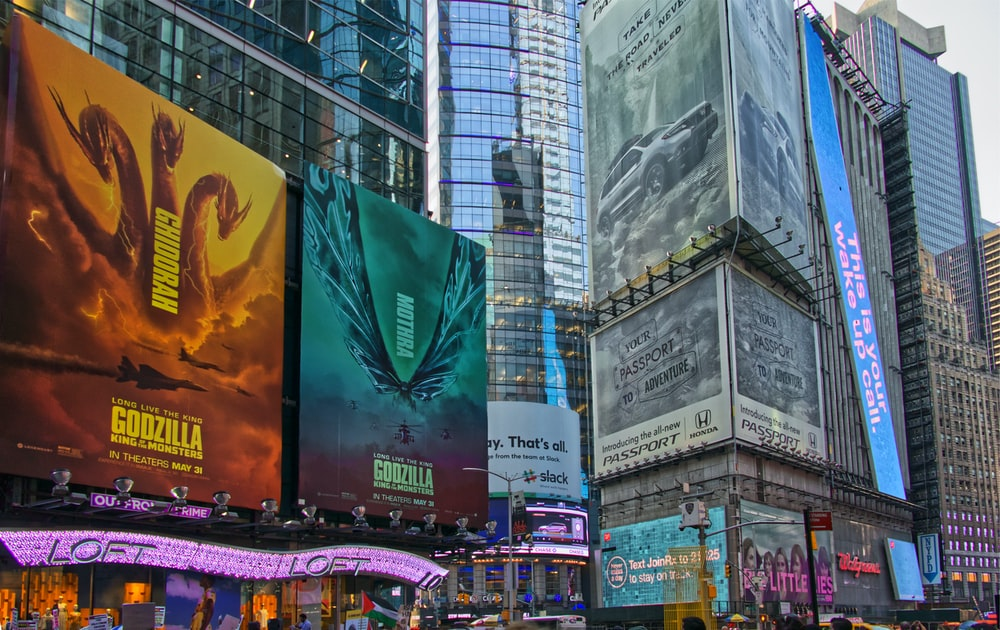 Godzilla signages on buildings
