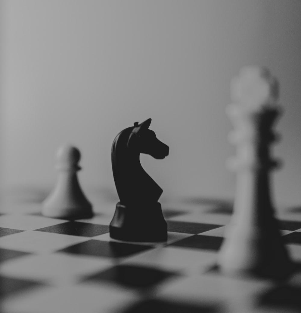 black horse chess piece near roque chess piece