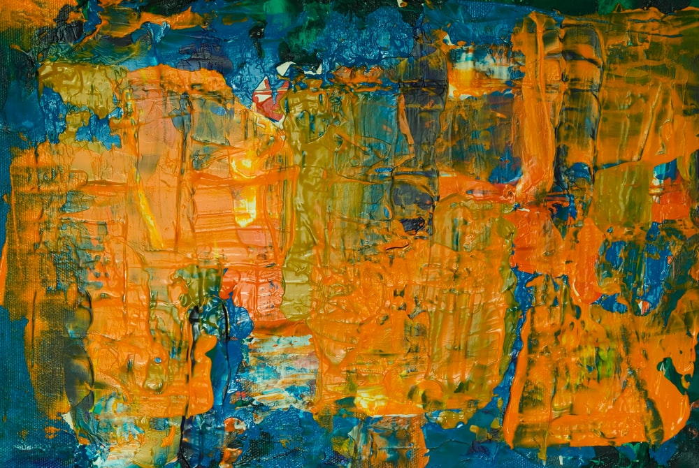 Orange And Blue Abstract Painting Photo Free Modern Art