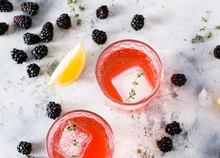 three beverage filled drinking glasses with ice cubes beside sliced lemons and blackberries