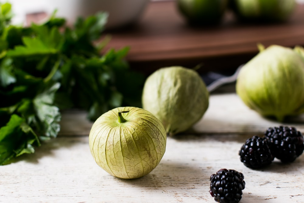 black berries and green fruit