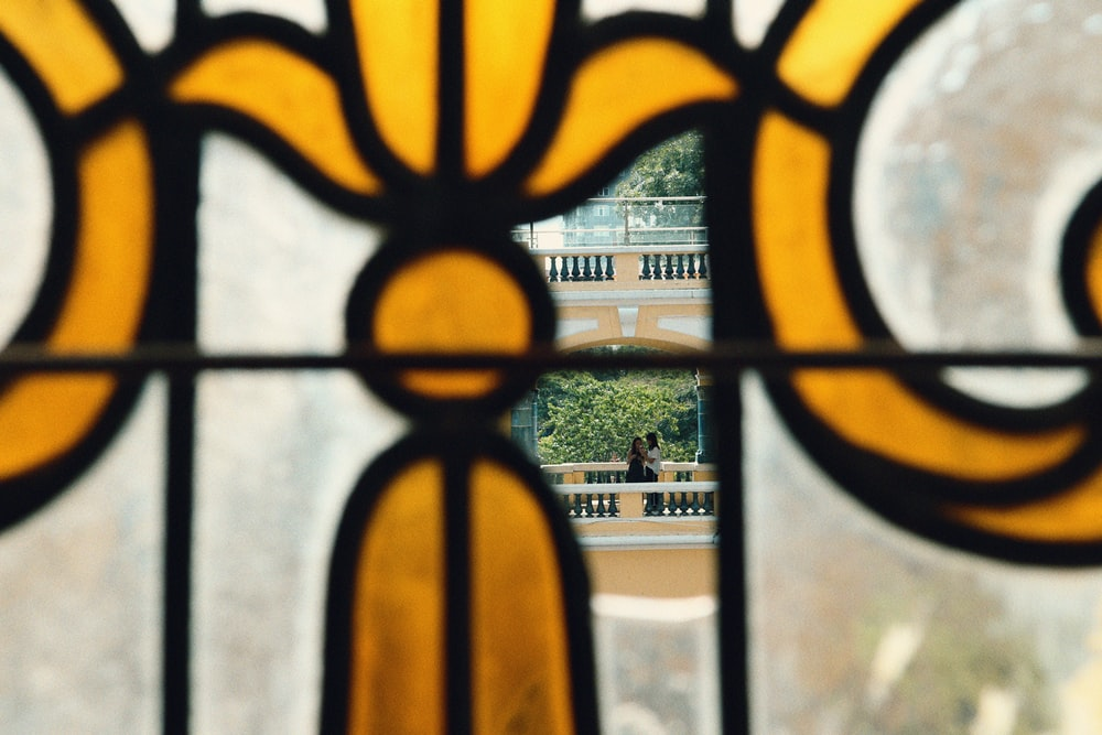 yellow and white stained glass