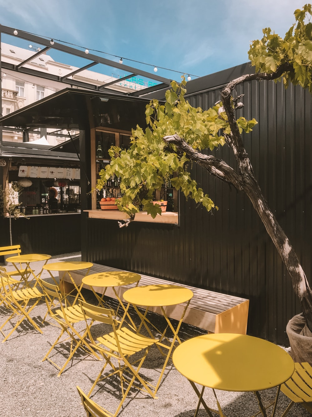 yellow metal outdoor dining sets