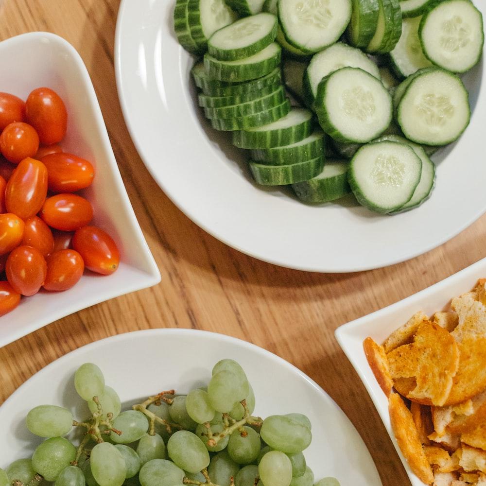 sliced cucumbers on plate