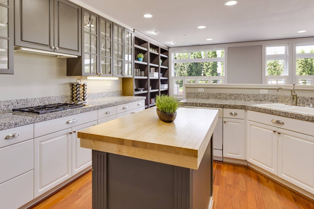white and gray themed kitchen counters