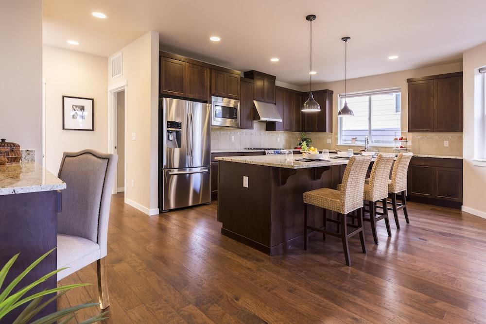 brown and beige kitchen interior