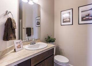 white vanity sink