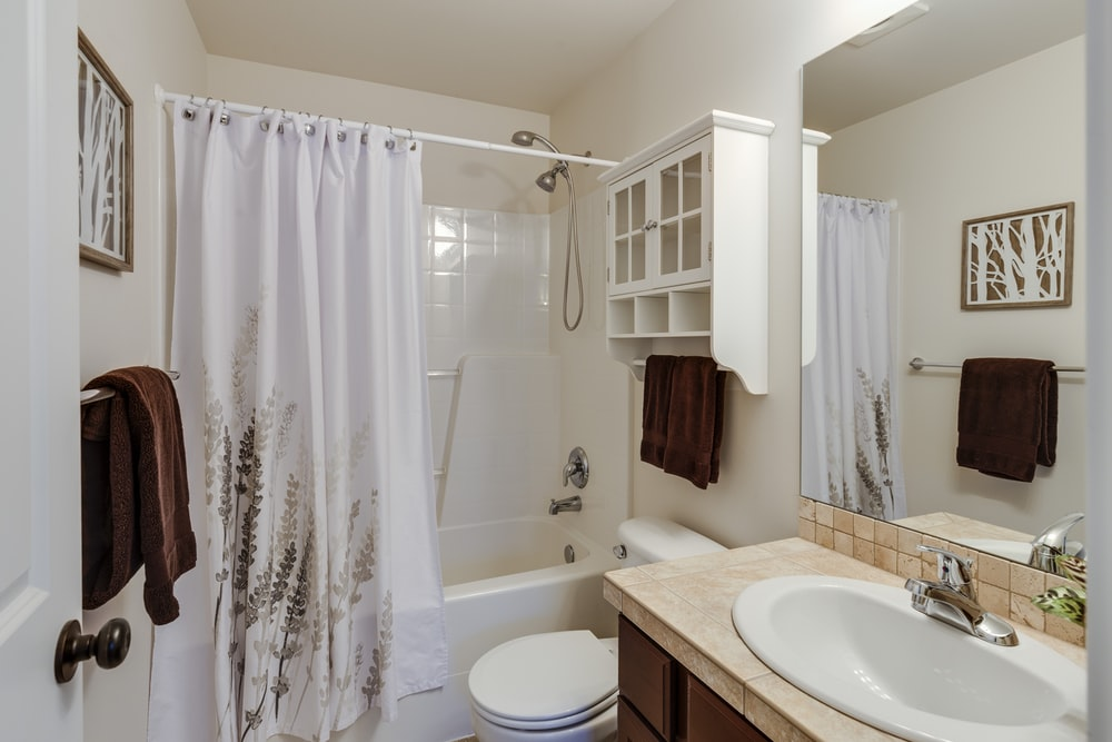 rectangular brown and white sink