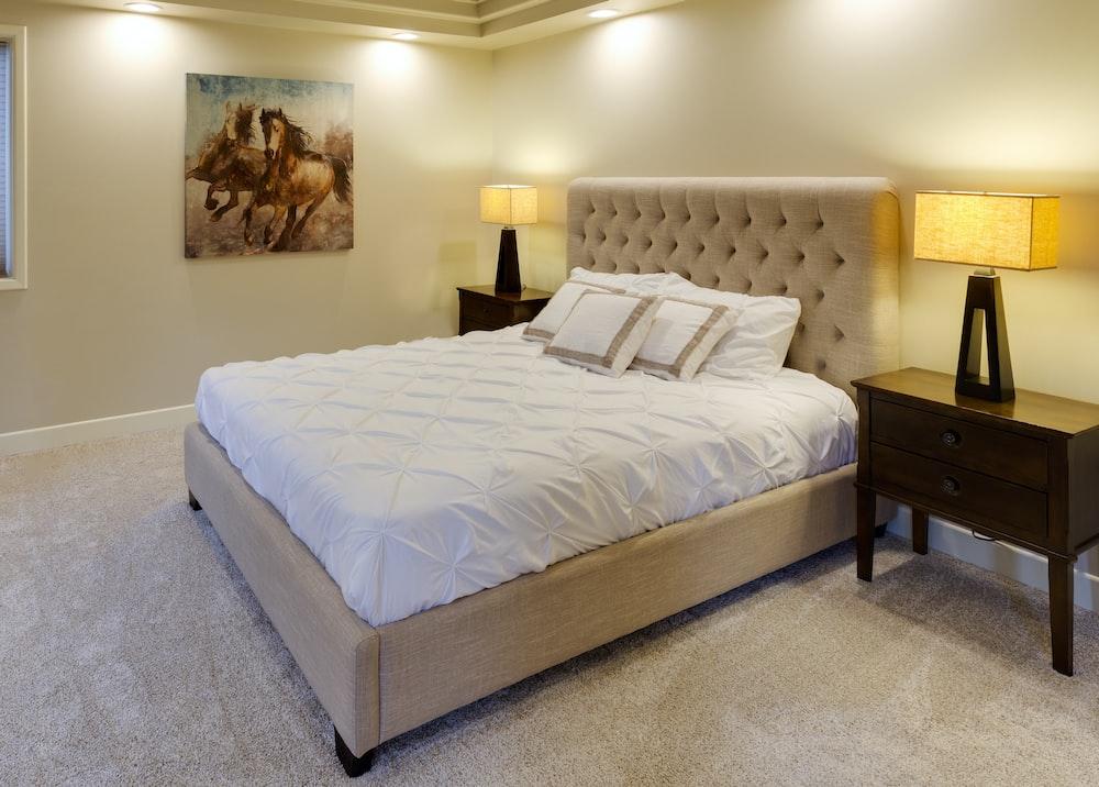 beige bed with white mattress