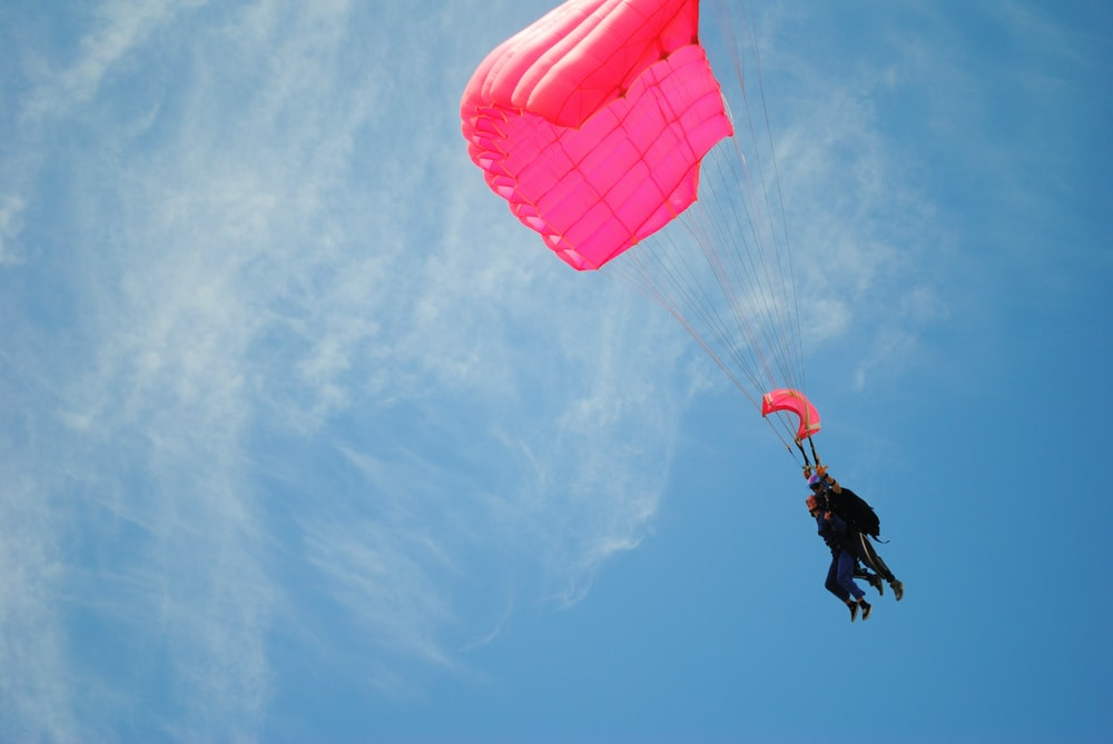 two people paragliding