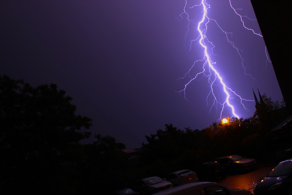 lightning bolt in dark rainy night