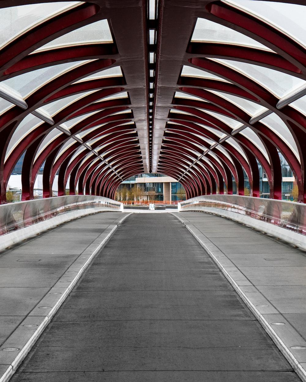 concrete pathway on an iron bridge