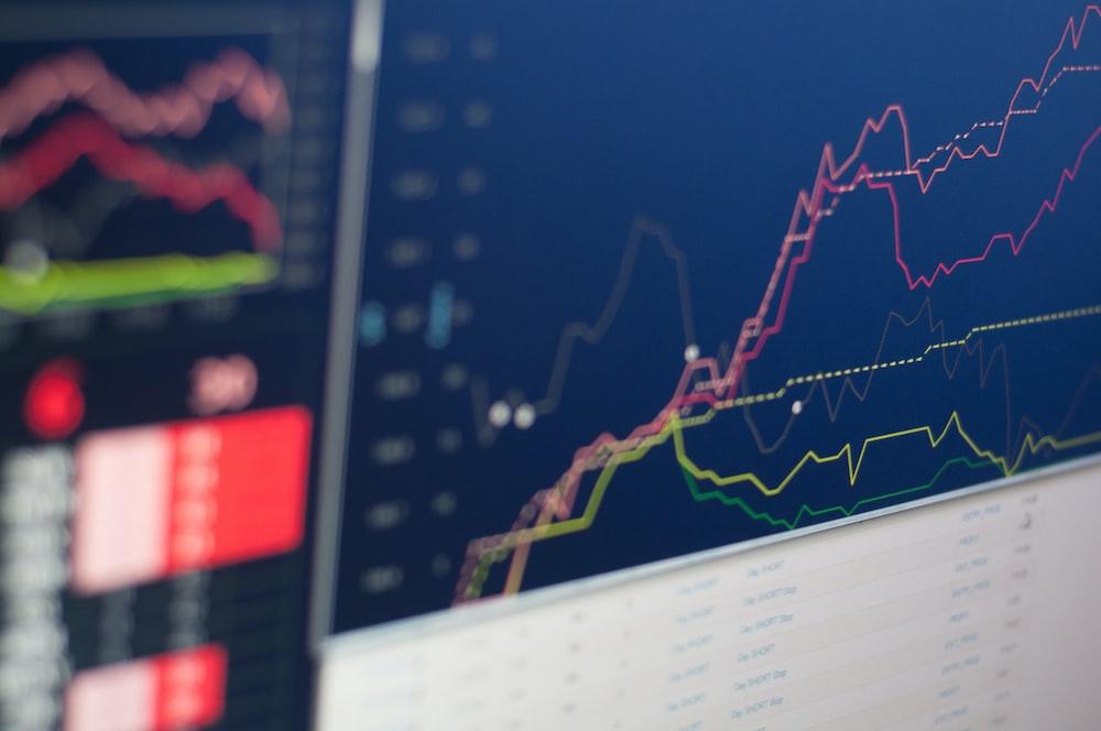 close-up photo of monitor displaying graph