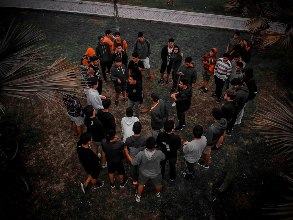 top view photo of people gathering