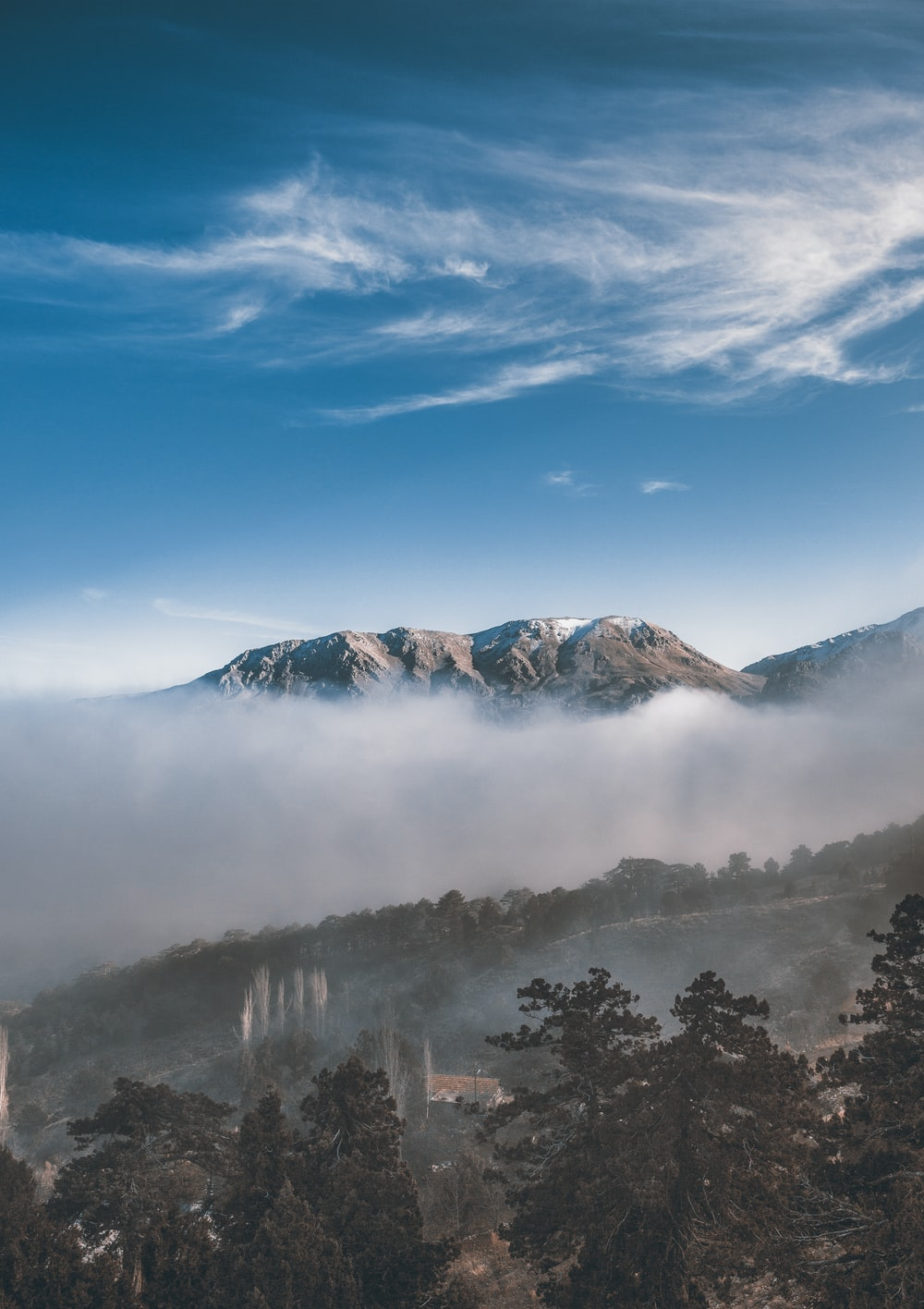landscape photography of gray and white mountain
