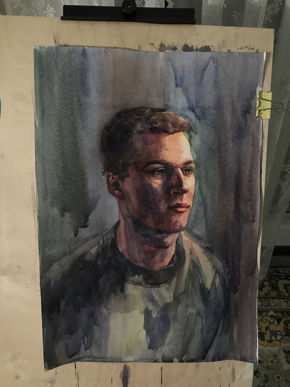 man in grey crew neck shirt portrait painting