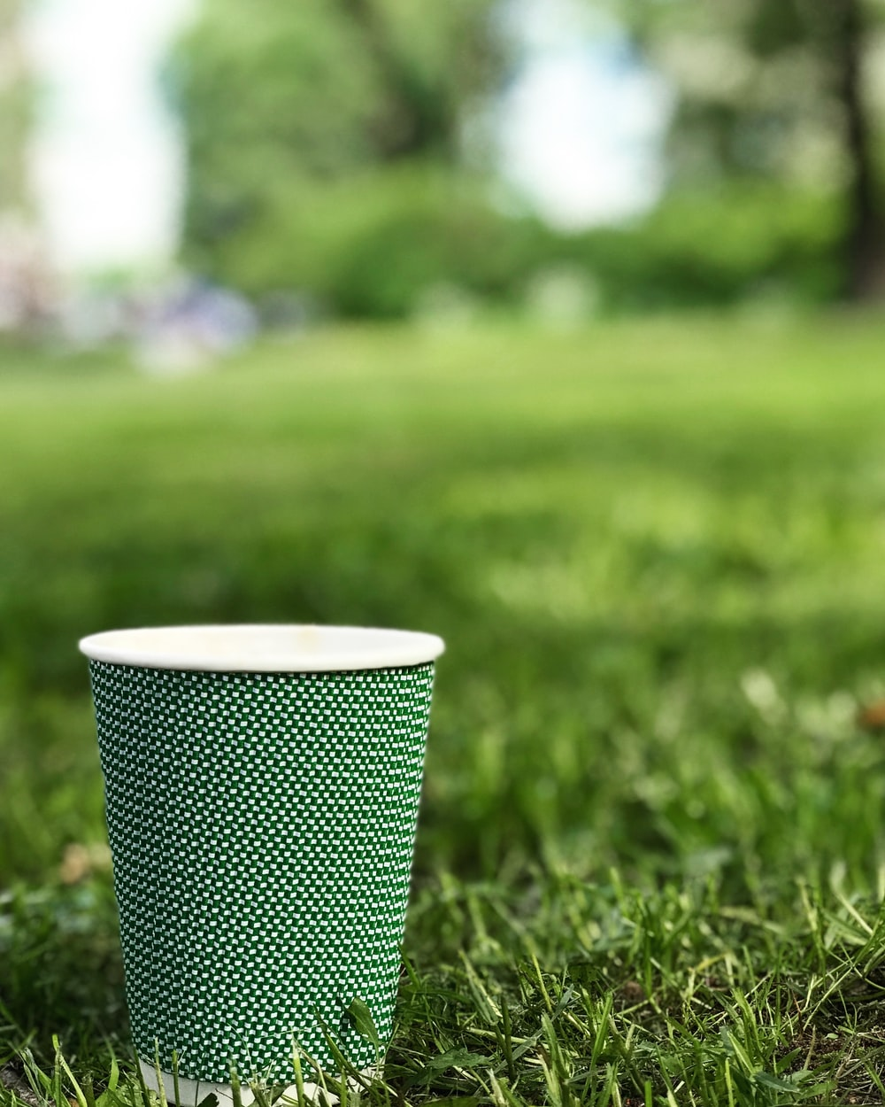 green and white solo cup on grass field