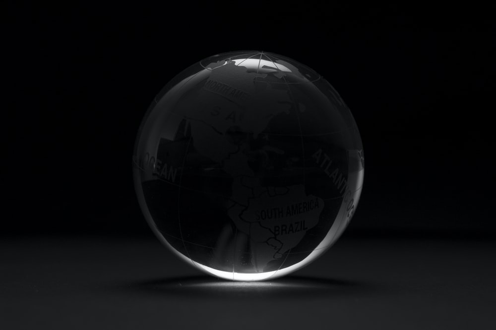 round clear ball with black background