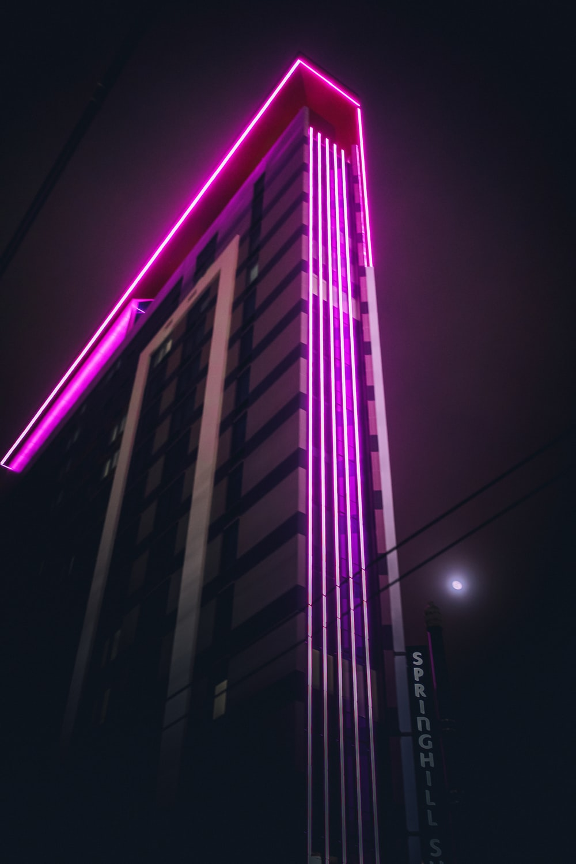 purple light building