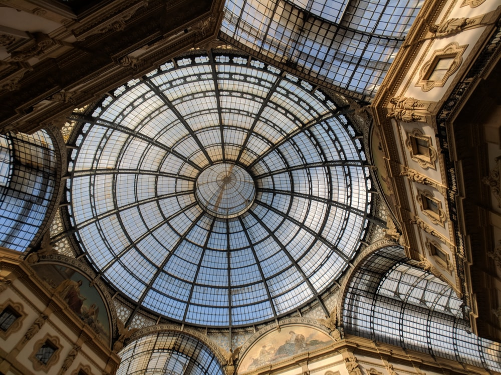 glass and steel dome ceiling