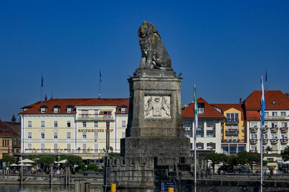 black lion statue